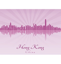 Hong kong skyline in purple radiant orchid vector