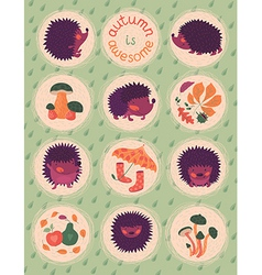 Autumn poster with hedgehogs vector