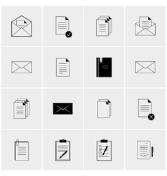 Black and white set of icons vector
