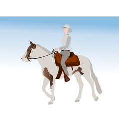 Cowgirl riding horse vector