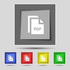 File pdf icon sign on original five colored vector