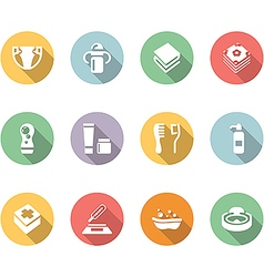 Babys things icon set color with long shadow vector