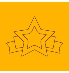 Star banner line icon vector