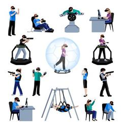 Virtual augmented reality flat pictogram vector