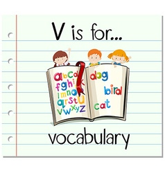 Flashcard letter v is for vocabulary vector
