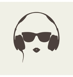 Silhouette of colored girl with headphones vector