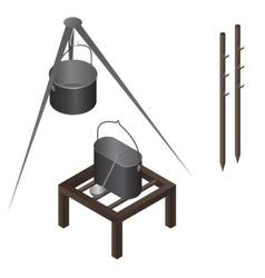 Camping food making equipment set vector