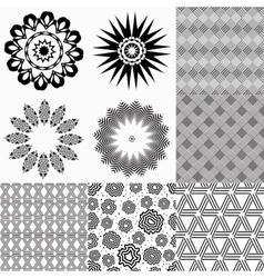 Set of monochrome geometric patterns vector