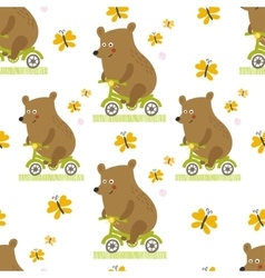Bear to ride a bike seamless pattern vector