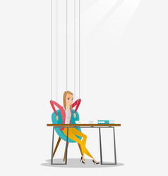 Business woman marionette on ropes working vector