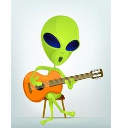 Cartoon alien guitar vector