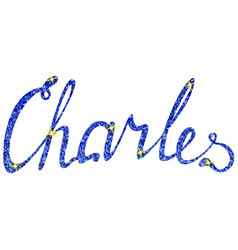 Charles name lettering tinsels vector