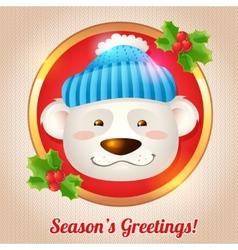 Christmas bear card vector image