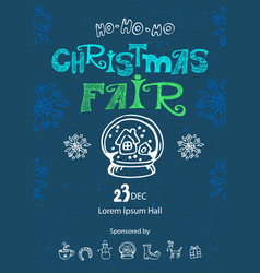 Christmas fair poster design template vector