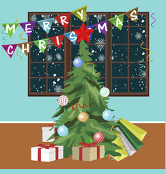christmas tree with merry christmas banners vector image vector image