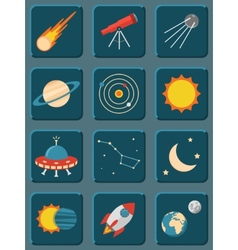 Collection of colorful flat astronomy and space vector image vector image