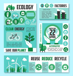 ecology banner earth day poster template design vector image