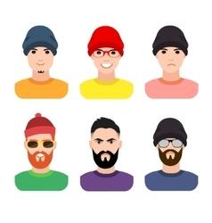 Flat cartoon hipster character set vector