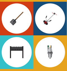 Flat icon dacha set of barbecue pump grass vector