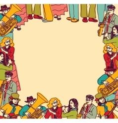 Frame border card musicians band color vector