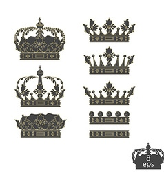 Grey crowns set vector