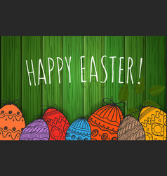 Happy easter greeting card poster vector