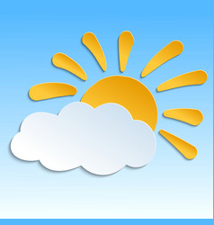 Icon with paper sun and cloud with shadow vector