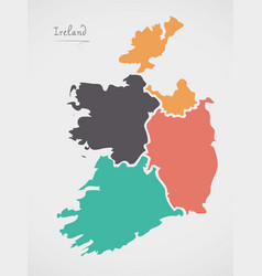 Ireland map with states and modern round shapes vector