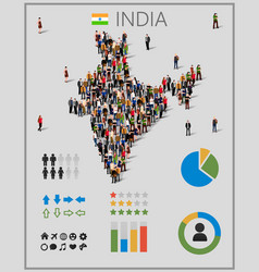 Large group of people in india map with vector