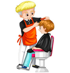Little boy getting haircut at barber vector
