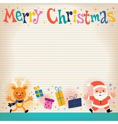 Merry Christmas lined note book paper retro vector image vector image