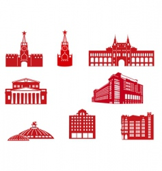 Moscow building icons vector