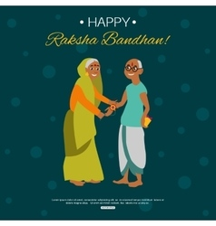 Old happy brother and sister celebrating raksha vector