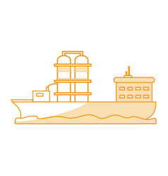 orange silhouette shading boat cargo with platform vector image