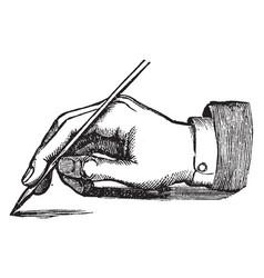 Penmanship has hand holding a pen vintage vector