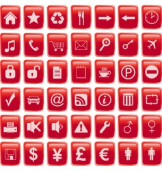red icons set vector image vector image