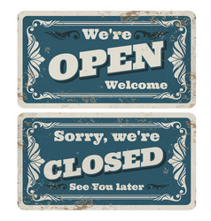 retro open and closed store or pub signs vector image