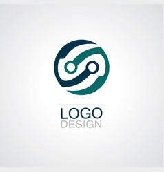 round circle technology logo vector image vector image