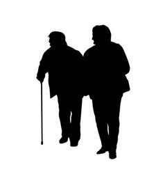 senior couple silhouette vector image