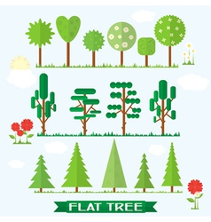 Set flat tree flower spruce vector image vector image