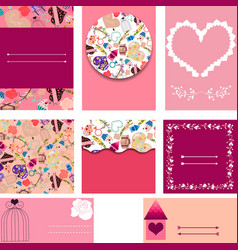 Set of templates for cards wedding invitation vector