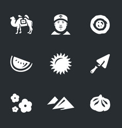 set of uzbekistan icons vector image vector image
