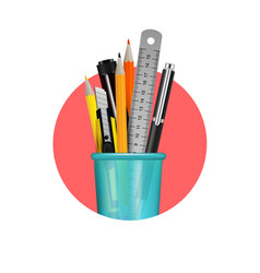 stationery realistic composition vector image vector image