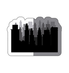 Sticker frame silhouette cityscape scene night vector