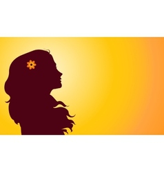 Sunset silhouette of woman vector
