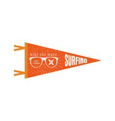 Surfing pennant summer pennant flag design vector
