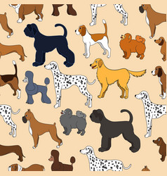 Unusual seamless pattern with cute cartoon dogs vector