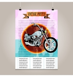 Vintage poster with high detail motorbike vector image