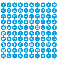 100 violation icons set blue vector