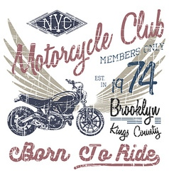T-shirt typography design motorcycle nyc printing vector